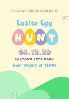 White and Green Easter Egg Hunt Flyer Kids