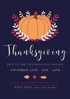 Navy, Orange and White, Thanksgiving Party Invitation Card Holiday Party Flyer