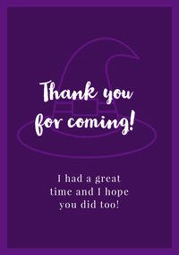 Violet and White Halloween Trick Or Treat Party Thank You Card  Fête d'Halloween