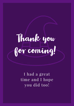 Halloween Trick Or Treat Party Thank You Card  Halloween Party Thank you Card