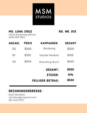 advertising studio invoice  Rechnung