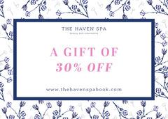 Navy white pink spa voucher 30% off - card Beauty Salon