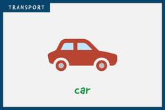 Grey Car Transport Vehicle Flashcard  Kids
