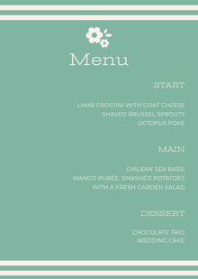 Turquoise Floral Wedding Menu Menu bruiloft