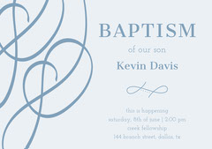 Blue Elegant Baptism Announcement and Invitation Card of Baby Boy Baptism