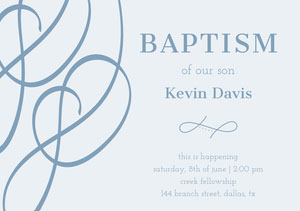 Blue Elegant Baptism Announcement and Invitation Card of Baby Boy Kastajaiskutsu