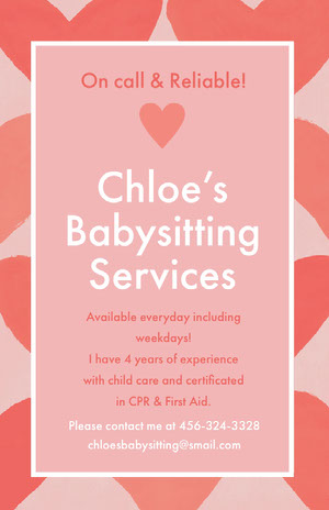 Chloe's <BR>Babysitting <BR>Services Pink Flyers