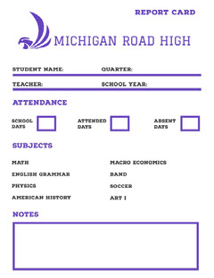 Blue High School Report Card with Logo Back to School