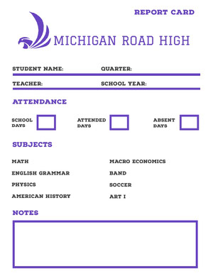 MICHIGAN ROAD HIGH  Report Card