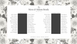 Black and White Floral Wedding Seating Chart Wedding Seating Charts