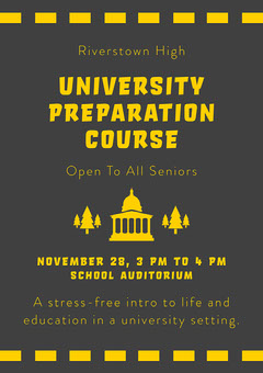 Black and Yellow University Preparation Course A4 Flyer Educational Course