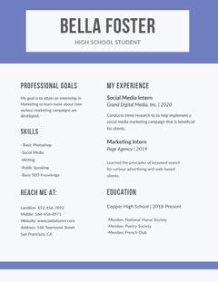 Blue Marketing High School Student Resume Marketing