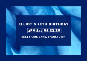 Blue and White Boys Birthday Party Invitation  Birthday Invitation (Boy)