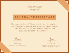 Brown Teacher Salary Certificate  Teacher