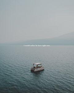 Blue, Light Lake with Travel Catchphrase Instagram Portrait Lake