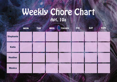 purple white roommate weekly chore chart a4 Cleaning Service