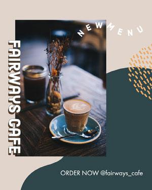 Green and Beige New Menu Fairways Cafe Instagram Portrait  Bakery Menu Templates