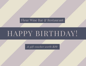 Purple Restaurant Birthday Coupon Bon