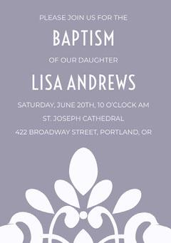 Purple Elegant Ornate Daughter Baptism Invitation Card Baptism