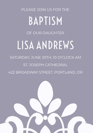Purple Elegant Ornate Daughter Baptism Invitation Card Baptism Invitation