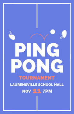 Blue Illustrated Ping Pong Tournament Flyer Tennis