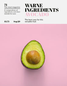 Pink and Green Minimalist Avocado Food Magazine Cover Magazine Cover