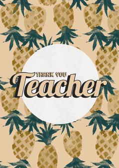 Yellow Pineapples Thank You Teacher Card Teacher
