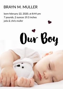 Baby Boy Birth Announcement Card with Photo Boys