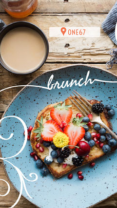 Brunch Food Instagram Story with Toast with Fruit Brunch