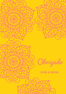 yellow and pink henna floral wedding thank you cards  Cartão Obrigado pela presença