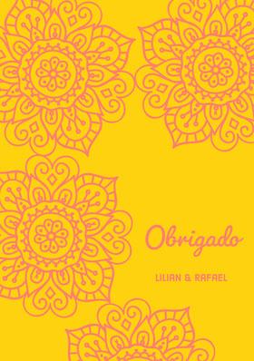 yellow and pink henna floral wedding thank you cards  Cartão de agradecimento