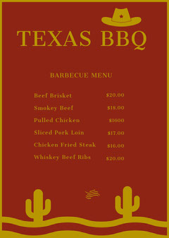 Red and Gold Texas Barbecue Restaurant Menu with Cacti Desert