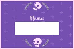 Violet Floral Skull Halloween Party Name Tag Halloween Party Name Tag