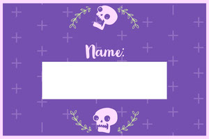 Violet Floral Skull Halloween Party Name Tag Nimikortti