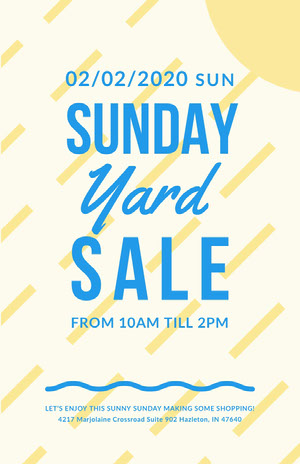 Blue and Yellow Sunday Yard Sale Poster Yard Sale Sign