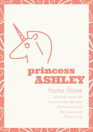 Orange Illustrated Birthday Party Invitation Card with Unicorn Tarjeta de cumpleaños de unicornio