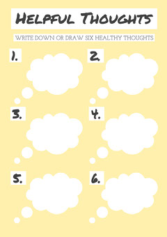 White and Yellow Helpful Thoughts A4 Worksheet Exercises