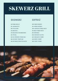 Blue and Black BBQ Menu BBQ Menu