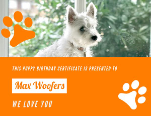 Max Woofers Birthday Certificate
