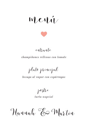 modern wedding menu Menú