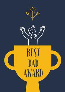Yellow and Navy Blue Father's Day Card Tarjetas para el Día del Padre