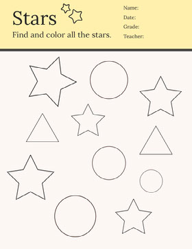 Yellow Star Coloring School Worksheet Study Helpers
