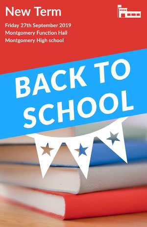 Red and Blue Back To School Poster póster escolar
