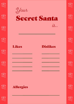 Pink Secret Santa Info Card  Christmas Invitation