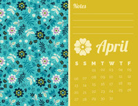Yellow and Blue Floral April Calendar Kalender