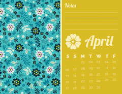 Yellow and Blue Floral April Calendar Flowers
