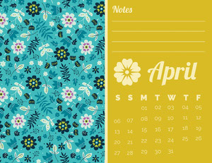 Yellow and Blue Floral April Calendar 달력