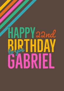 22nd Birthday Card Birthday Card