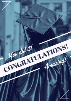 Blue Graduation Congratulations Card with Student in Mortarboard Graduation Congratulation