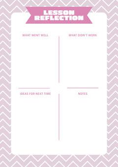 Pink ZigZag Lesson Reflection Worsheet Pattern Design